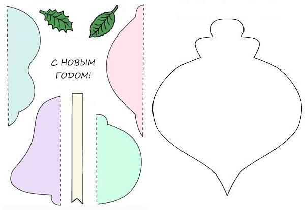 Новогодние открытки шары своими руками шаблоны