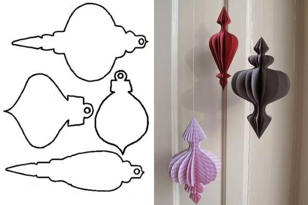 Схемы и шаблоны, чтобы сделать новогодние шары из бумаги