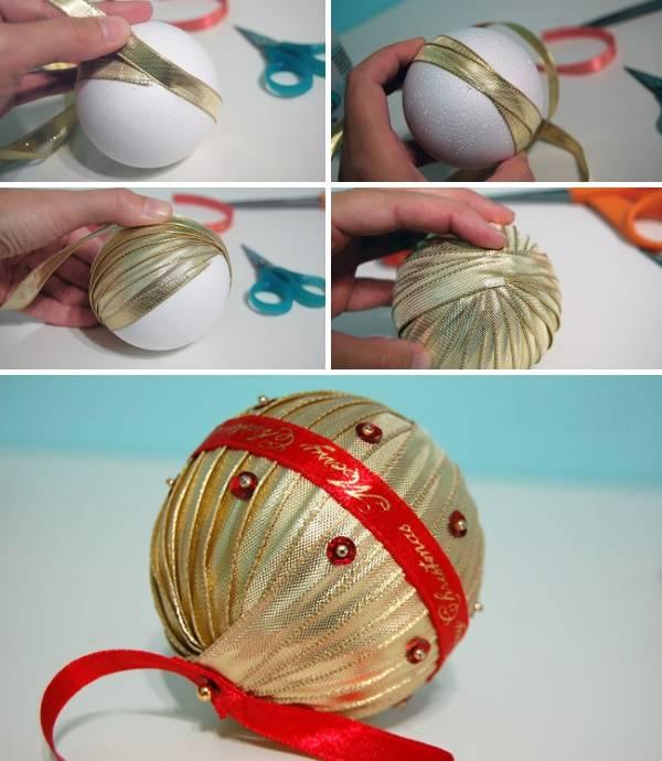 Как сделать новогодний шар из атласных лент