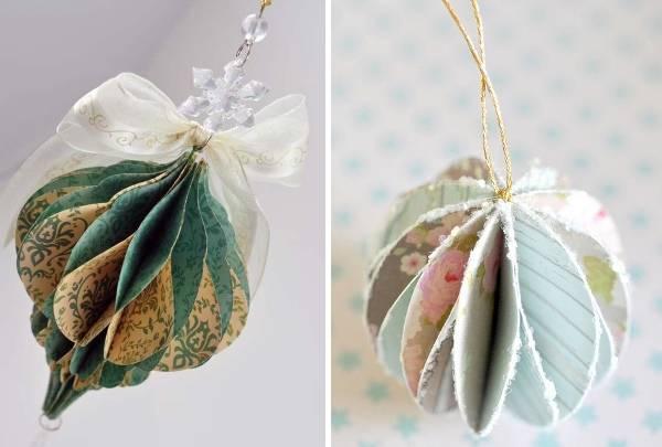 Новогодняя игрушка - шар своими руками из бумаги и лент
