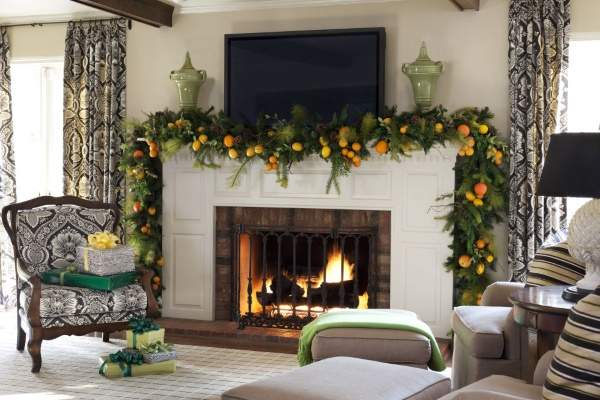 Новогодний дизайн интерьера 2017 - апельсины как декор