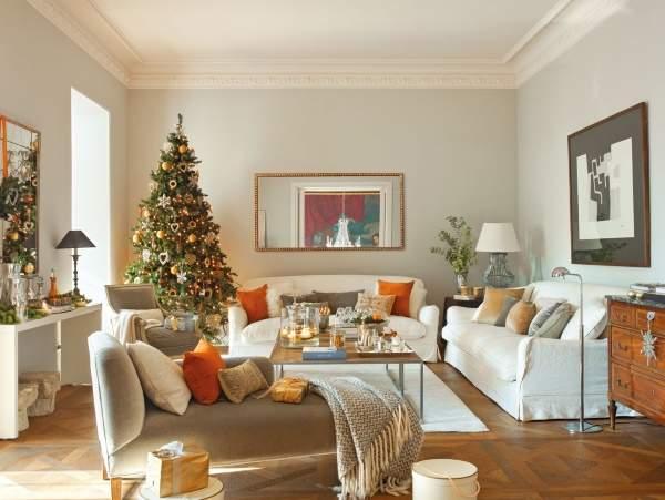 Новогодний интерьер квартиры - фото в оранжевом и зеленом