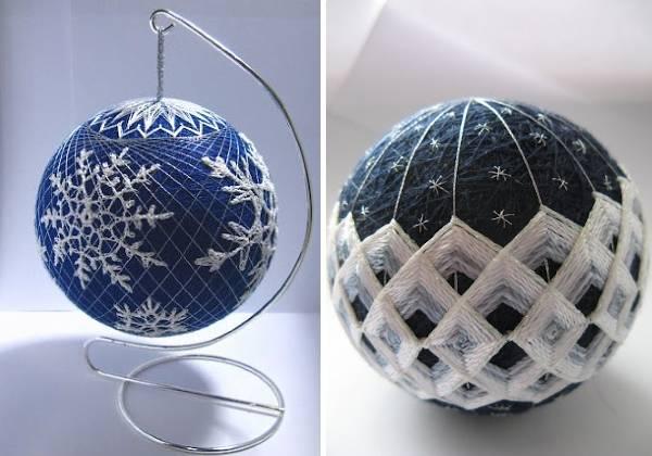 Как сделать елочный шар своими руками из ниток - темари