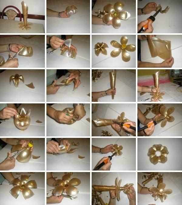 Инструкция, как сделать вазу из пластиковой бутылки своими руками