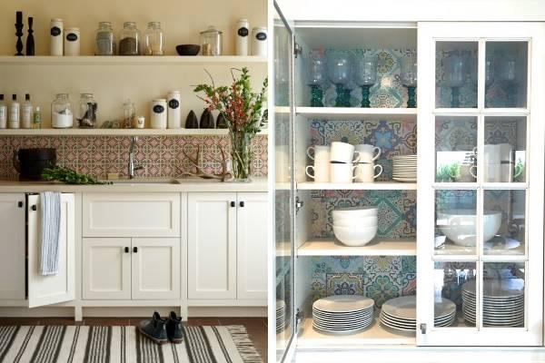 Стиль бохо шик в интерьере кухни с яркой плиткой