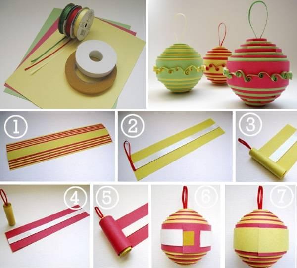 Новогодняя игрушка - шар своими руками из цветной бумаги