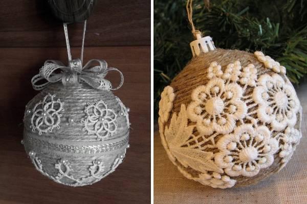 Новогодние шары своими руками из ниток