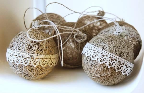 Стильные шары на Новый год своими руками