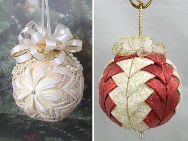 Елочные шары своими руками из блестящей ткани и атласных лент