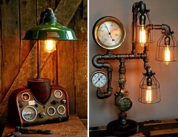 Стимпанк светильник из труб своими руками - фото поделки
