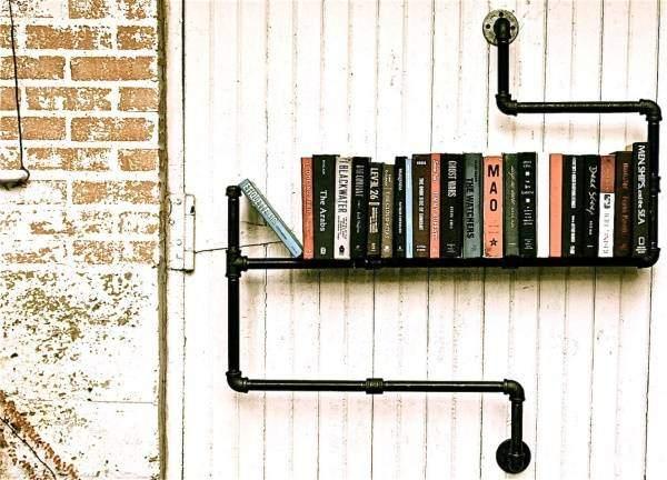 Мебель в стиле стимпанк - фото полки из труб