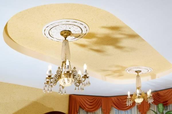 Жидкие обои на потолок - фото в дизайне гостиной