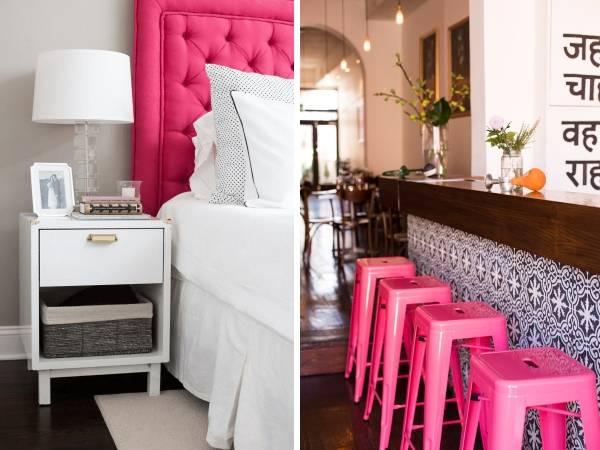 Модный розовый цвет в интерьере - фото