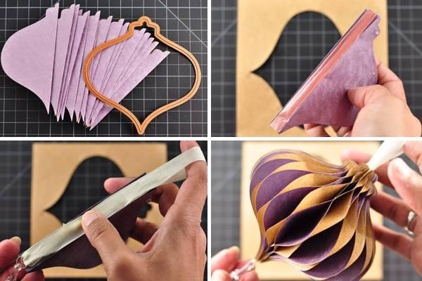 Красивый шаблон для создания новогоднего шара из бумаги