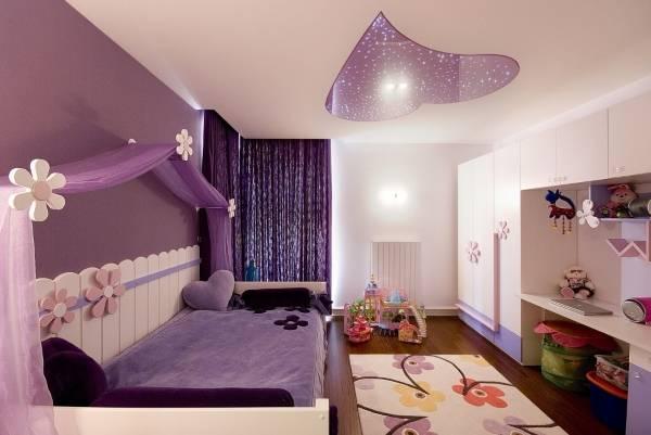 Сиреневые шторы нити в интерьере - фото комнаты подростка