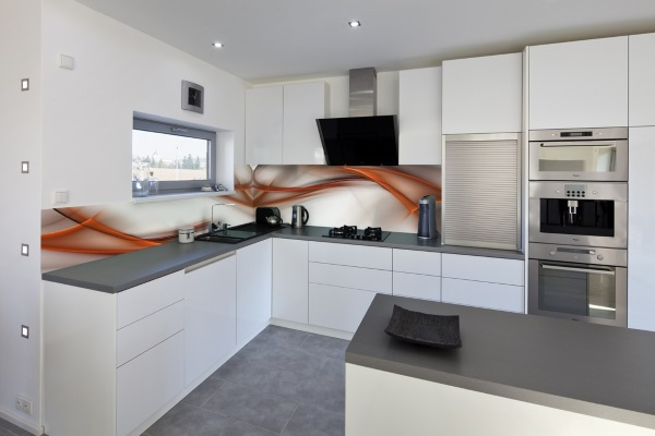 Стеклянные панели на фартук для кухни - фото с фотопечатью