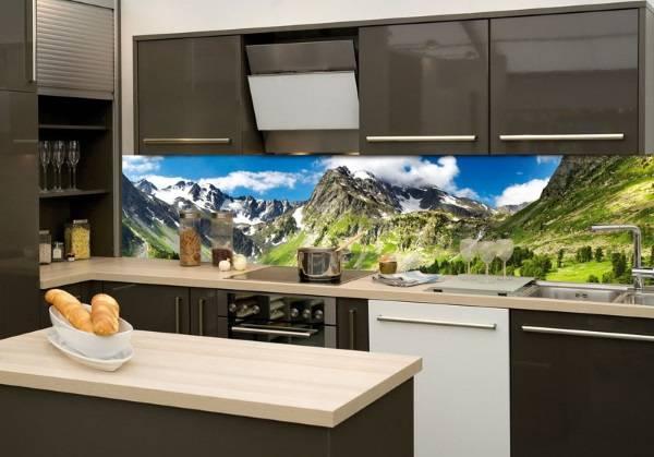 Стеклянный фартук для кухни с пейзажем - фото в интерьере