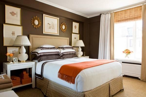С какими цветами сочетается коричневый в интерьере - оранжевый и белый