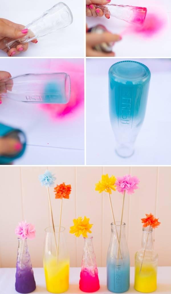 Как сделать вазу из бутылки с аэрозольной краской