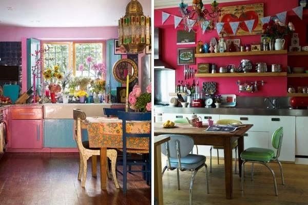 Темно розовая кухня в стиле бохо - фото