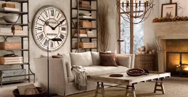 Предметы интерьера в стиле стимпанк - светильники и часы на стене