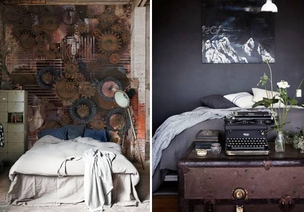 Интерьер спальни в стиле стимпанк - фото обоев
