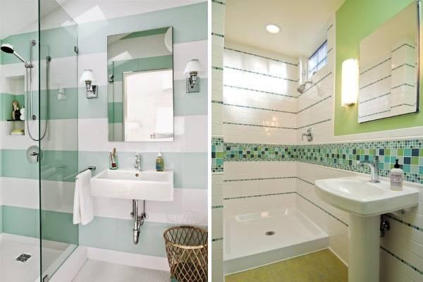 Декор плитка для ванной в белом и зеленом цвете