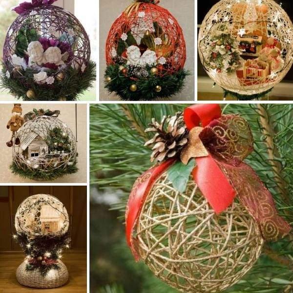 Новогодние шары своими руками из ниток - фото идей оформления