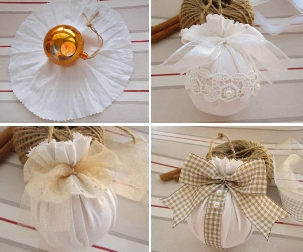 Украшение новогодних шаров своими руками тканью и лентами