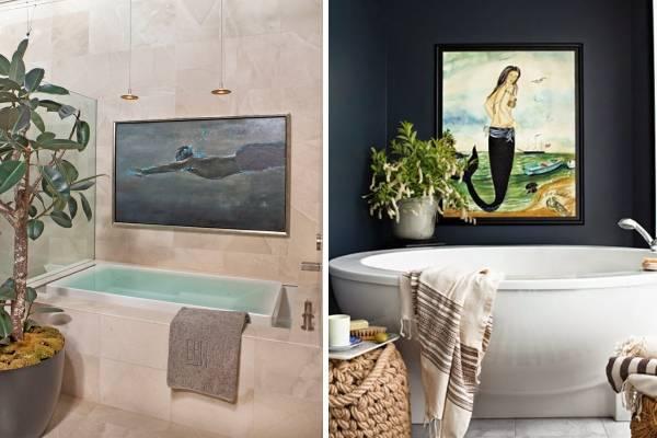 Декор в ванной комнате - фото картину на стенах