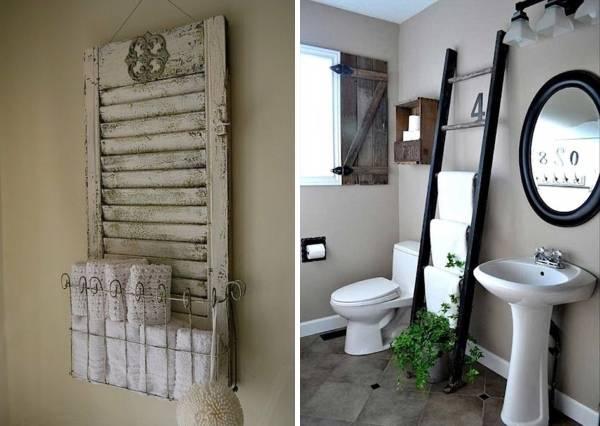 Декор ванной комнаты своими руками из старых вещей