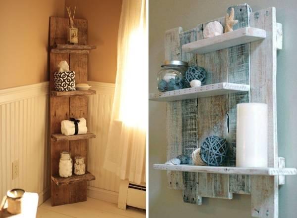 Как украсить ванную красивыми полками из дерева