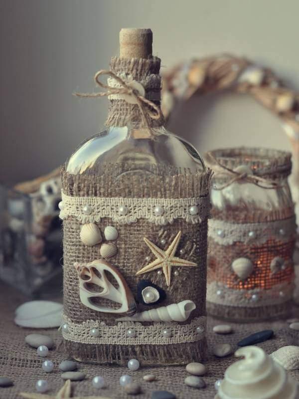 Стильная ваза из стеклянной бутылки своими руками - фото поделки