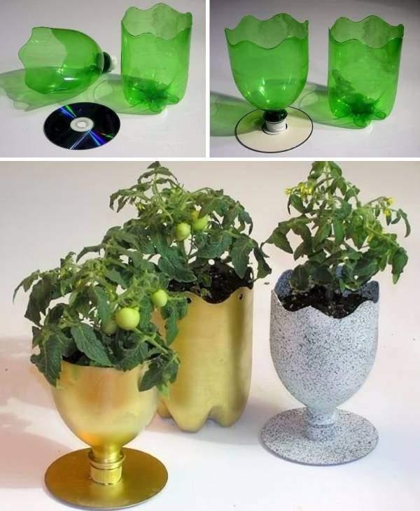 Напольные вазы из пластиковых бутылок своими руками - фото