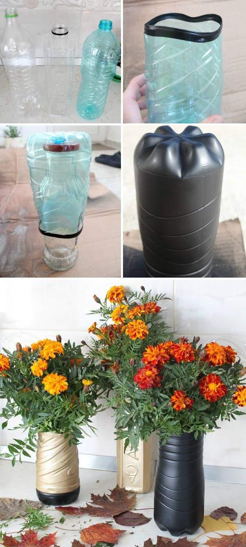 Напольная ваза своими руками из пластиковых бутылок с покраской