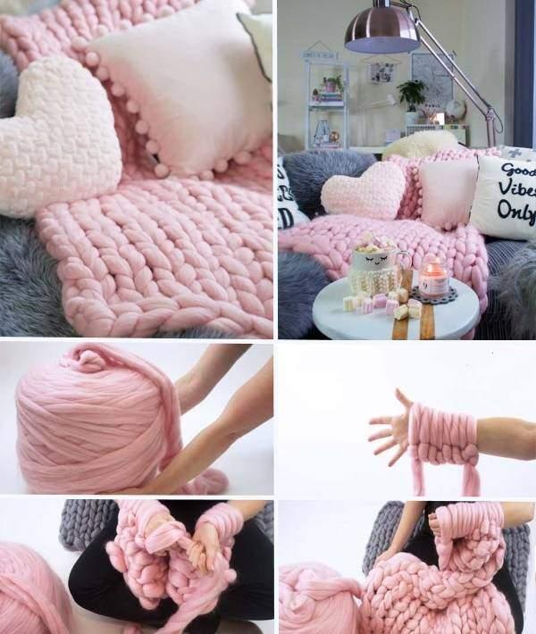 Как сделать плед крупной вязкой своими руками - пошаговое фото