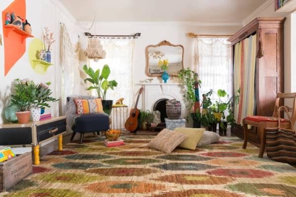 Как оформить зал в стиле бохо