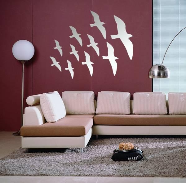 Зеркальные наклейки на стены - птицы в полете