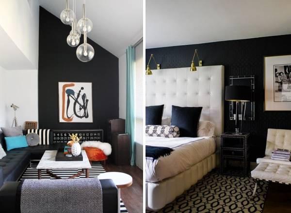 Красивые интерьеры с черными обоями на стенах