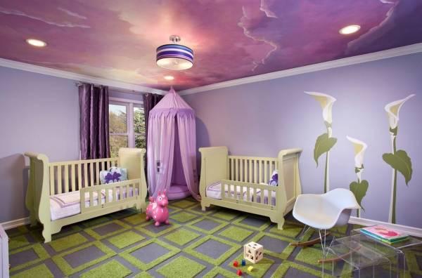 Фиолетовый цвет в интерьере спальни ребенка
