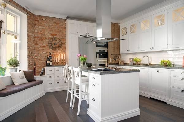 Модные тенденции в дизайне кухни 2017 - кухня с островом в стиле лофт