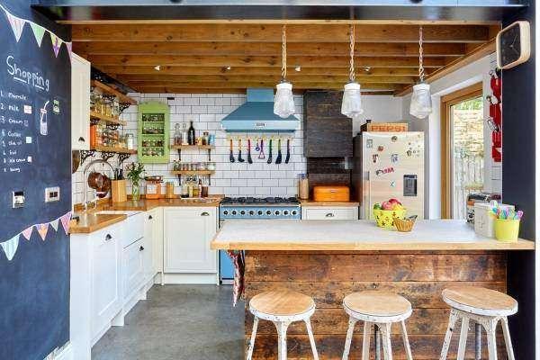 Стиль лофт в интерьере кухни с барной стойкой