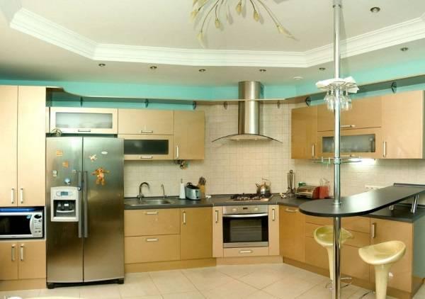 Угловой кухонный гарнитур с барной стойкой в современном стиле
