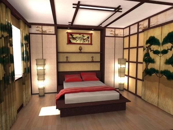 Японский этнический стиль в интерьере - фото спальни
