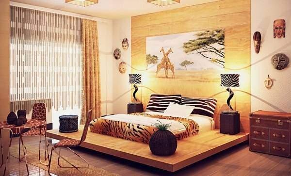 Этнический стиль в интерьере - фото спальни
