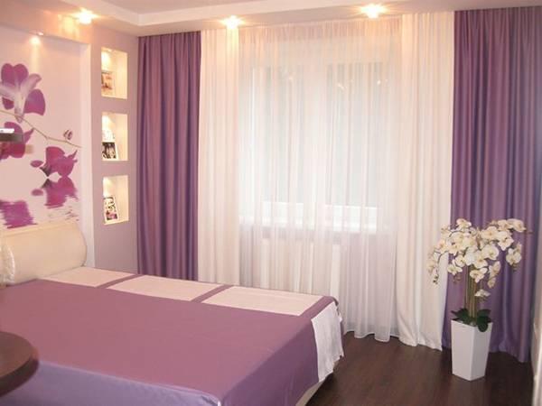 Спальня в фиолетовых тонах в современном стиле