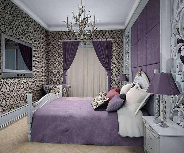 Спальня в фиолетовых тонах - фото с узорчатыми обоями