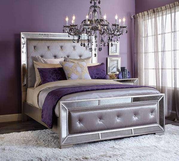 Фиолетовая спальня - фото в сочетании с серебристым