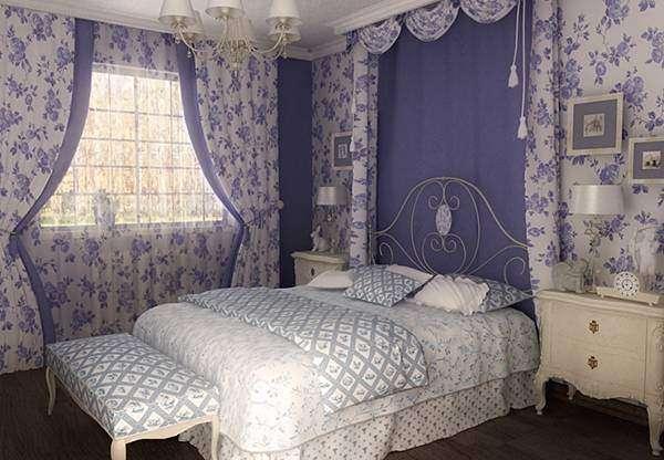 Сочетание белого и фиолетового цвета в интерьере спальни