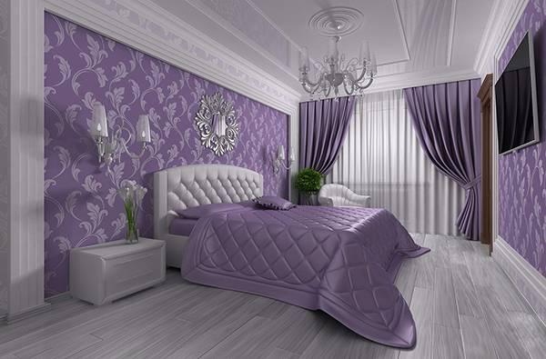 Фиолетовые обои в спальне в стиле luxury